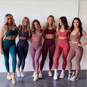 2020 Women's Yoga Set Seamless Sportswear 2-Piece Gym Yoga Clothes Sports Vest + Leggings Running Wear Skinny Sports Set Suits