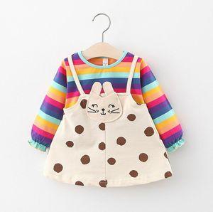 Children's clothing girl dress Wholesale collar striped splicing dress small children's long-sleeved skirt Korean knitwear 201129