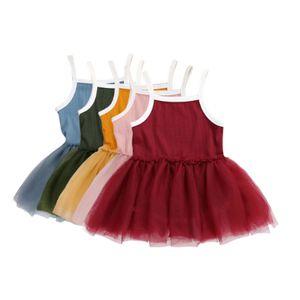 Baby girls Lace Tulle Sling dress Children Suspender Mesh Tutu princess dresses 2021 Summer Boutique Kids Clothing 5 Colors M3149