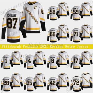 Pittsburgh Penguins 2021 Reverse Retro Jersey 87 Sidney Crosby 66 Mario Lemieux 71 Evgeni Malkin 58 Letang 59 Jake Guentzel Hockey Jerseys
