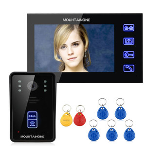 "MOUNTAINONE 7"" RFID Video Door Phone Intercom Doorbell Touch Button Remote Unlock Night Vision 1000TV Lines Y1128"
