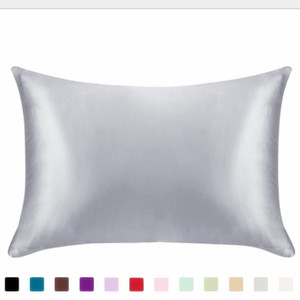 Pillowcase Silk Satin Solid-color Pillowcases 20*26 Inch Household Ice Pillow Cover Zipper Double-Sided Bed Pillow Cases DHC4357