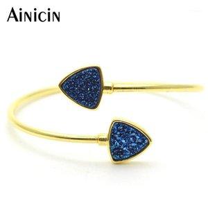 Luxo jóias brilho drusy cristal triângulo forma aberta copper bangletes de ouro chapeamento moda mulheres presentes jóias1