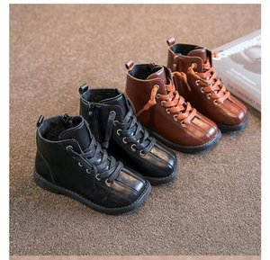 Children's leather boots autumn new Korean girl Martin boots single boots side zipper middle and small children high-top retro leather shoes