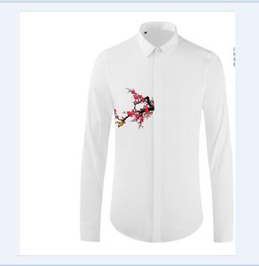 Free Shipping 2020 New Arrrival Original Design Plum Butterfly Printed Style High Quality Mens Popular Personality Long-sleeved Casual Shirt