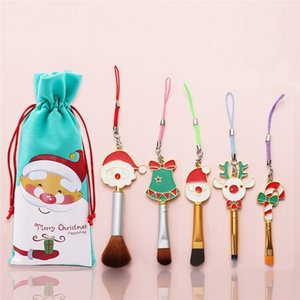 Christmas Makeup Brush Set Santa Claus Elk Candy Mini Make Up Tool Powder Eye Shadow Blush Blending Skin-friendly Cosmetic