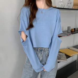 Knitting Jumper Cropped Shirts Women O Neck Long Sleeve Ladies Short Pullover Women's Hollow Out Tops
