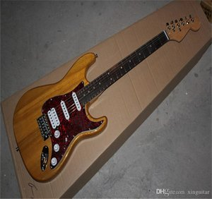 Free shipping 2021 High Quality Stratocaster 6 Strings in Wood color stratocaster electric guitar Red Guards