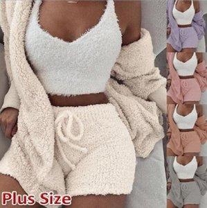 Winter womens home clothing three-piece suit plush top pajamas shorts suit ladies long-sleeved jacket pajamas vest S-XXXL