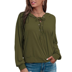 VICABO 2020 Womens Long Sleeve Solid Color Hoodie Winter Sweatshirt Casual Baggy Lace Up Fashion Pullover Tops
