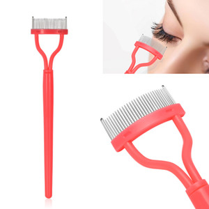 1pc Pink Color Eyelash Comb Eyebrow Brushes Curler Mascara Applicator Stainless Steel Pins plastic Handle Cosmetic Makeup Tools