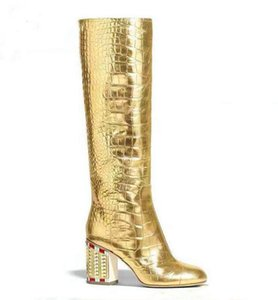 Moraima Snc Crystal Embellished Thick Heels Runway Boots Round Toe Gold Leather Knee High Boots Woman Sexy Riding Shoes