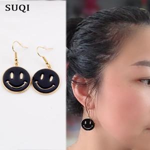 Suqi Femmes d'or émail inoxydable filles Boucles d'oreilles en acier Etoiles coréenne à la mode Visage souriant Boucles d'oreilles Pendentif cadeau 2020