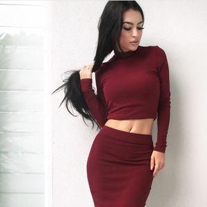 womens designer fashion dresssexy long sleeve high collar two-piece dress 5 colors 4 yards RJVW