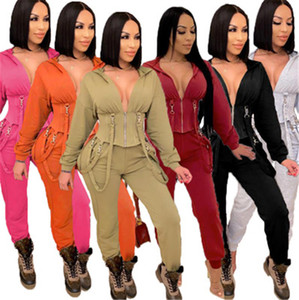 Women Solid Color Sets Fashion Trend Long Sleeve Zipper Bandage Hooded Tops Jogger Pant Suits Designer Female Winter Casual Slim Tracksuits