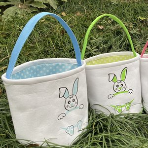 Easter Basket DIY Basket Cute Bunny Smile Rabbit Easter Cartoon Totes Storage Bag Candy Gift Bag Bucket Egg Canvas LLA127 Titia