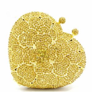 Clutch FlowerCrystal Heart Heart Serata Giallo Borse Giallo Diamanti Diamanti Xiyuan Forma Frizioni Party Full Ladies Strass Borsa GCEFX