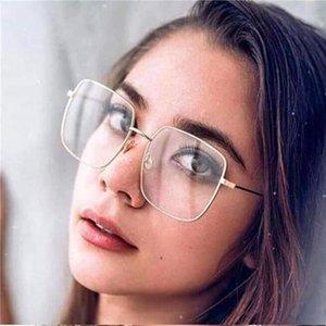 Metal Frame Transparent Square Glasses Optical Spectacle Frames Classic Luxury Clear Lens Sunglasses Women Men Oculos Feminino