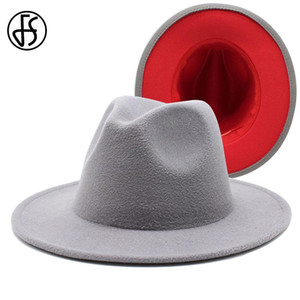 FS 61 cm de lana rojo remiendo de fieltro gris del jazz del sombrero de ala para las mujeres unisex del borde ancho del sombrero flexible del partido Panamá vaquero hombres del casquillo del caballero