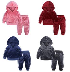 Children Clothes Two Pieces Set Designer Golden Velvet Wear Boys And Girls Hooded Sweater Pants Autumn Suits Kids Sport Leisure L218
