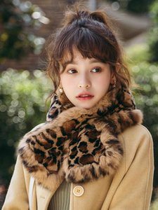 Rex fur leopard print scarf double-sided fur collar real scarf ladies' Size: 90*15cm