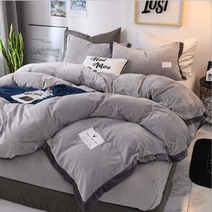 FB18003 Popular Luxury Crystal Bedding Set Duvet Cover Sheet 4pcs set Winter Bed Linen King Queen Size Velvet Home Textile