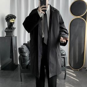 Medium length trench coat men's ins trendy loose and versatile dark casual Cape Jacket