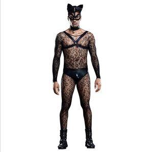 Мужская прозрачная кружева нижнего белья тела набор с маской цветочным сиссическим стринги с длинным рукавом синглетного кроссвяда один кусок ночная одежда