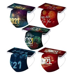 Happy New Year Face Mask 3 Layered Disposable Masks Print Dustproof Breathable Protective Decoration Mouth Cover Designer Mask DWB3276