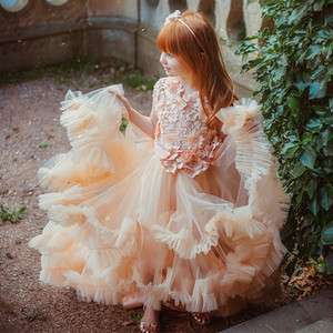 Champagne Flower Girl Dresses Ruffles Floral Appliqued Tiered Skirts Kids Gowns For Wedding Birthday First Holy Communion Dress