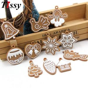 11PCS Set DIY PVC Soft Rubber Gingerbread Man Christmas Ornaments Bell Snowflake For Chrismas Tree Pendant Kids Gifts Decoration