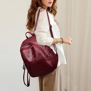 leather backpack Fashion Womens Outdoor Solid Color Nylon Multi Function Backpack Shoulder Bag mochila couro j4s