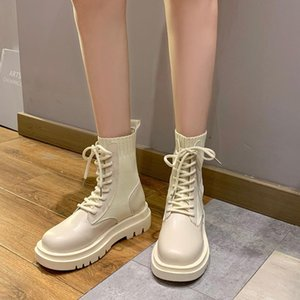 Round Toe Woman Flat Boots Platform Winter Footwear Shoes Lace Up Luxury Designer Boots-Women Low Mid Calf 2020 Mid-Calf