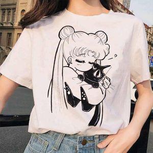 Sailor Moon Funny T Shirt Casual Harajuku 90s Clothes Tshirt Aesthetic Women Cute Female T shirt Kawaii Tees