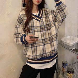 Y2k Fashion Spring Loose Sweatshirt Women V Neck Knitted Plaid thick Pullovers Harajuku Casual Long Sleeve Korean Oversized Tops