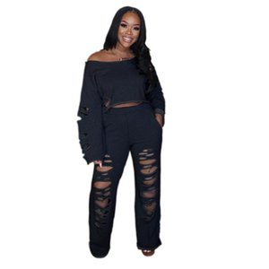Women Set Fashion Suit 2020 O Neck Long Sleeve Hole Crop Top High Waist Loose Wide Legs Pants 2 Two Piece 3xl Plus Size Sets