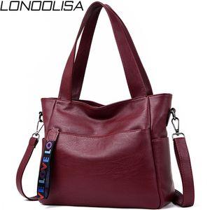 LONOOLISA Brand Genuine Leather For Luxury Handbags Women Designer Big Ladies Shoulder Hand Bags Sac A5TW3