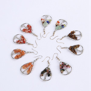 Hand-woven Crystal Tree Of Life Wish Tree Water Drop Type Charm Earrings Seven Colour Chakra Reiki Healing Earrings Fashion Women Jewelry