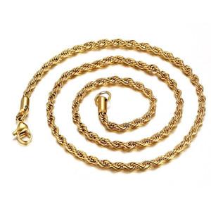Bulk Catene placcate in oro 18 carati per le donne Uomo 3mm Twisted Rope Choker Collane collane gioielli 18 20 22 24 30 pollici 289 G2