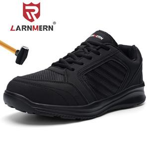Sapatos de segurança de toe de aço larnmern para homens sapatos de trabalho impermeáveis Anti-perfuração Botas de trabalho leve respirável 201202