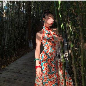 2021 nuevo le Palais vintage retro contraste color colisión patrón de agua simulación de agua seda show fino cheongsam fiesta vestido mujer r9tq