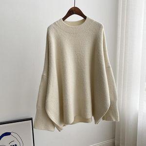[EWQ] Autumn Winter Women Fashion Gentle Casual Round Neck Loose Soft Minimalist Long Sleeve Pullover Knitting Sweater 8D268