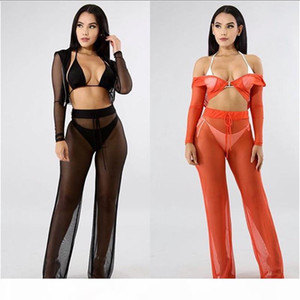 Piece Set Fashion Solid Color Perspective Two Piece Pants Sexy Ladies Night Club Apparel Women Designer Clothes Summer Women 2