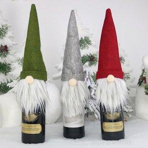 New Gift Decorations Santa Claus Glass Bottle Set Christmas Champagne Decoration Wine Bag