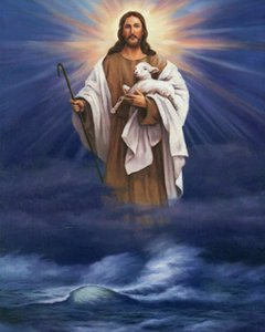 Catholic picture CHRIST OVER WATER W  LAMB Home Decoration Oil Painting On Canvas Wall Art Canvas Pictures For Wall Decor 201126