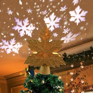 Christmas Tree Topper Light Star Shape LED Night Light Projector 3D RGB Laser Projector Lamp Holiday Party Xmas Decorative