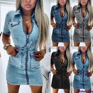 Women Fashion Short Sleeve Denim Dress Front Zipper Bandage Jeans Bodycon Pockets Dresses Ladies Lapel Slim Fit Mini Dress F1130