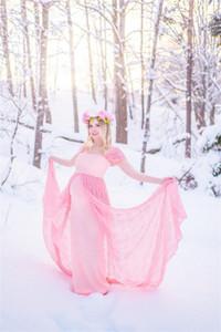Pink Lace Maternity Evening Dresses Mermaid Baby Shower Prom Dresses Photoshoot Bathrobe Nightwear Pregnancy Party Dress Plus Size