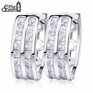 Effie Queen Popular Moda 2 Filas Zircon Pendientes Pendientes Mujer Accesorios de boda Hoop Pendiente DDE211