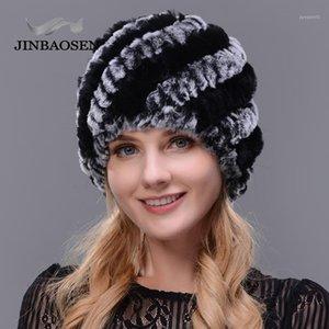 Jinbaosen 2020 femenino de la moda de la moda del sombrero de piel de punto doble cálido sombrero de punto natural invierno viaje turista ski Cap1